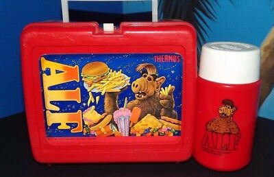 ALF1987 LunchBox And Rare Red Thermos with Sipper Straw