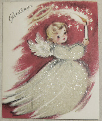 Vintage MICA Glitter FLOCKED CHRISTMAS CARD ANGEL Halo Candle