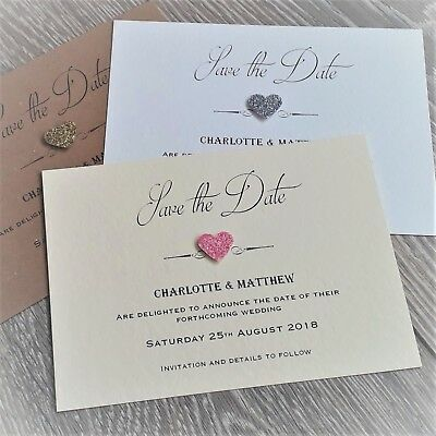 10 Personalised save the date cards & envelopes, Ivory or white hammered card.