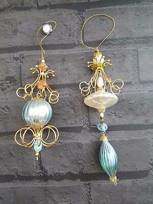 Victorian brn set of 2 Glass ball beads wire Christmas tree ornaments
