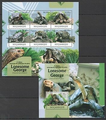 Z323 2012 Mocambique Fauna Reptiles Turtles Lonesome George 1Kb+1Bl Mnh