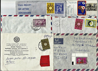 Ethiopia, 11 covers and cards sent to Sweden 1972-2006