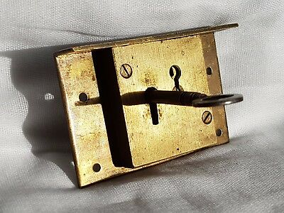 """Antique Lock & Key 4 Lever Mechanism And All Brass Make 3"""" X 2""""  X 5/8"""""""