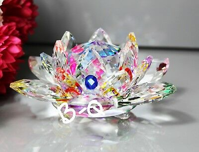 CRYSTAL Cut Large Multi Colour Lotus Flower Home Decor X-Mas Gift & Gift Box