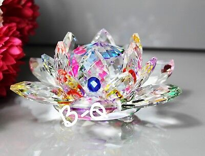 CRYSTAL Cut Large Multi Colour Lotus Flower Mother's day X-Mas Gift & Gift Box