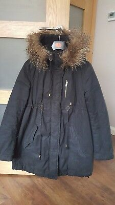 H&M Maternity black parka coat winter jacket size S 8-10
