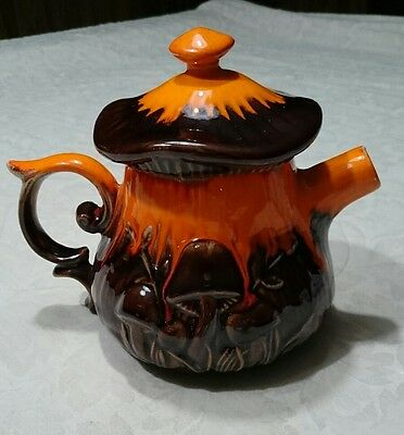Brown And Orange Mushroom Vintage 70's Ceramic Teapot