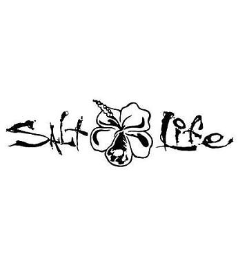Salt Life Signature Hibiscus Decal Black Medium