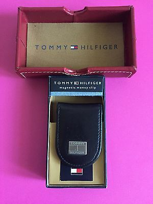 Tommy Hilfiger Men's Magnetic Black Leather Money Clip With Box