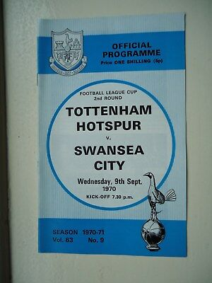 1970/71 Tottenham Hotspur v Swansea City League Cup 2nd Round Programme