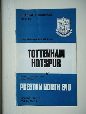 1971/72 Tottenham Hotspur v Preston North End League Cup 4th Round Programme
