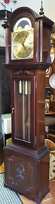 Mahogany 8 day Triple Chiming Grandfather Clock with Moon Phase