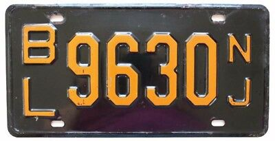 Vintage New Jersey 1957-1958 License Plate, BL 9630, Bergen County