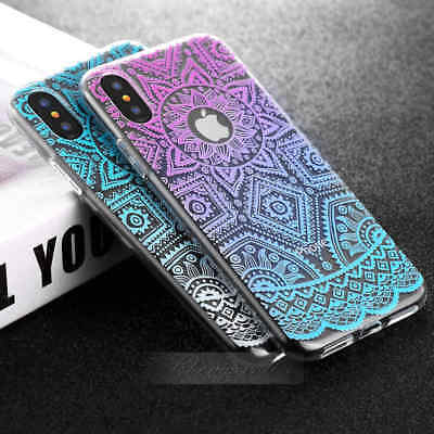 Vintage Clear Ultra-Thin Pattern Flower TPU Case For iPhone X 10 8 / 7 Plus / 6s