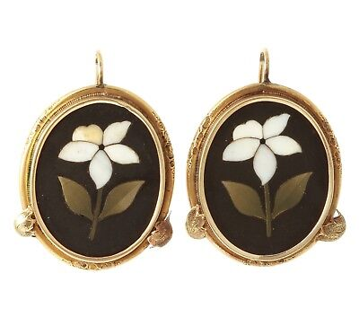 Antique Victorian 18k Gold Pietra Dura Micro Mosaic  Flower Earrings 90417300