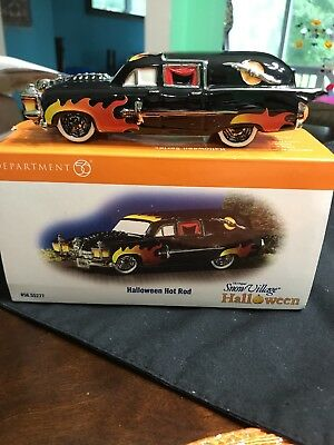 Dept 56 Halloween Snow Village Hot Rod Hearse with Flames