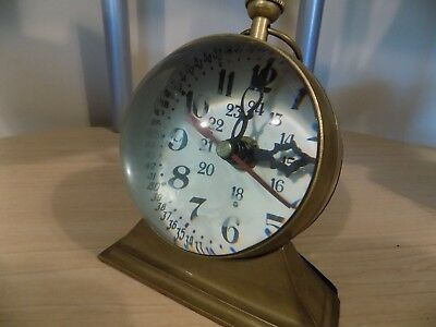 Vintage Nautical Brass Dome Clock Magnifying and Barometer