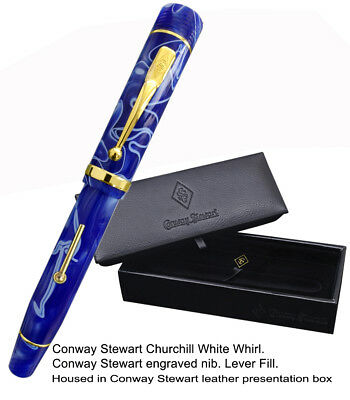 Conway Stewart Churchill White Whirl Fountain Pen - MINT, Never Been Used!
