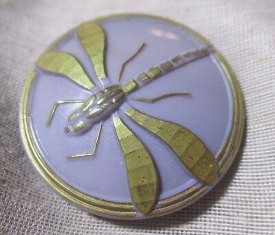 Vintage Xl Czech Glass Button Molded Dragonfly On Lavender - Gold Bug & Border