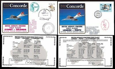 13-15.2.1985 Two Ba Concorde First Flown Covers~ London-Perth/ Sydney-Colombo