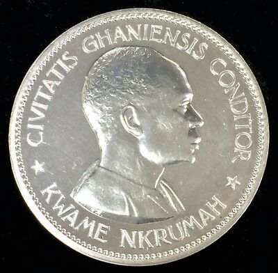 1958 Silver Ghana 10 Shillings Kwame Nkrumah Republic Coin Gem Proof Condition