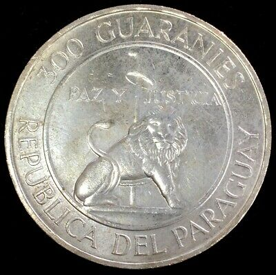 1968 Silver Paraguay 300 Guaranies President Stroessner Coin Unc Condition