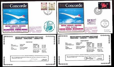 3-4.3.1985 Two Ba Concorde First Flown Covers~Bangkok- Hong Kong & Hk - Bangkok