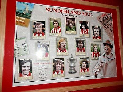 Signed Limited Edition Picture  Sunderland 1973 Fa Cup Team Winners Stokoe,porte