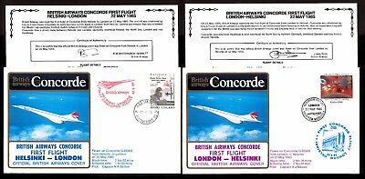22.5.1985 Two Ba Concorde First Flown Covers~London-Helsinki / Helsinki-London