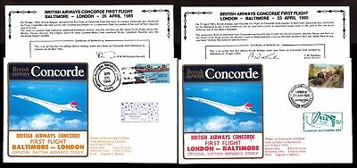 25.4.1985 Two Ba Concorde First Flown Covers~London-Baltimore/ Baltimore-London