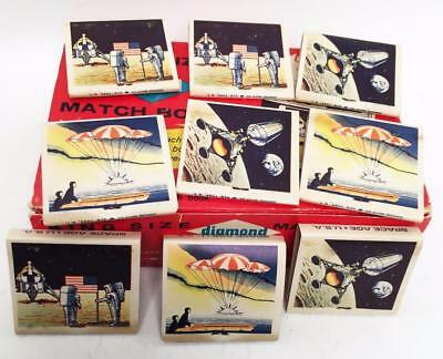 Set Of Nine Apollo Moon Landing Diamond Matchbooks Old Stock Lunar Module & More