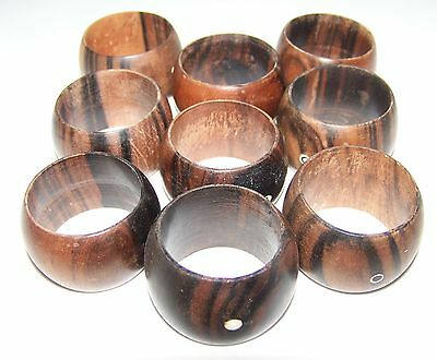 Vintage lot 9 Teak (wood) round Napkin Ring Holders Mid century Look!