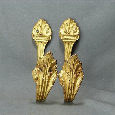Pair of Antique French Louis XV Style Ormulu Curtain Tiebacks Ornate Bronze