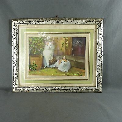 Antique French Art Deco Wooden Frame with chromolithography representing 2 cats