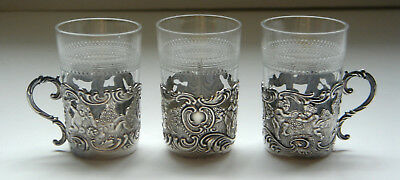 Three Antique STERLING Miniature Mugs w/ CHERUBS Cut Glass Inserts