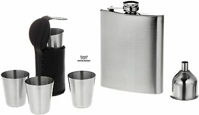7 Piece Stainless Steel Flask Set - Bonus Whiskey Recipes - Includes Flask, S...