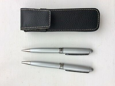 Pen and pencil set in leather case
