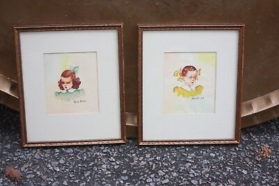 Pair of Mean Girl Girls Sisters Signed Watercolor Painting Original Framed Bows