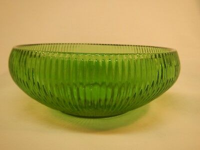Vintage E.O. Brody Emerald Green Glass Ribbed Bowl Depression