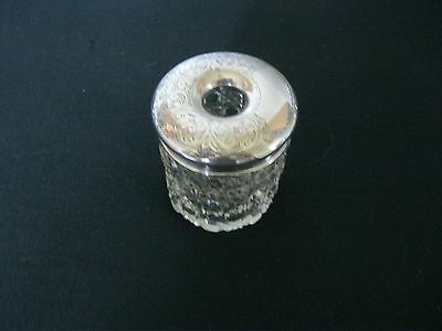 Vintage sterling silver hand cut glass hair pin jar / bottle Chester 1922 [W]