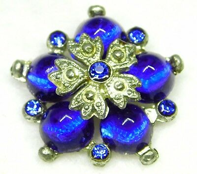 """ANTIQUE VICTORIAN Jewel BUTTON  Cobalt BLUE  & SILVER with Pastes WOW  1 & 1/8"""""""