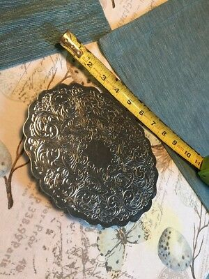 Vintage Oval Scalloped Edge Silver Plated Trivet Marked WPC With Crown Stamped