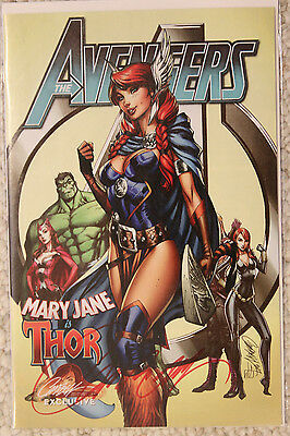 Avengers #8 Signed J. Scott Campbell Mary Jane Sexy. Variant Cover Thor / COA