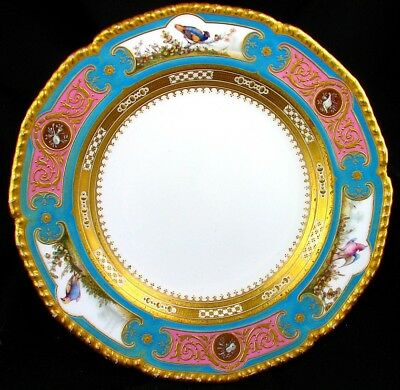 Royal Crown Derby Plate *h.p. Bird Vignettes* Musical Instruments *raised Gold