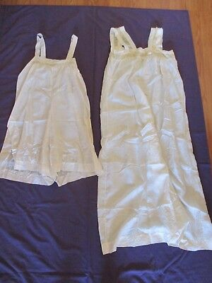 Lot Antique LINGERIE Silk NIGHTGOWN Slip Satin LACE Vtg 20's-30's NEGLIGEE Ivory
