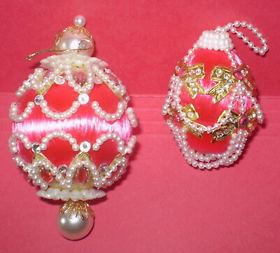 vtg Christmas ORNAMENTS 2  Fancy Pearl Beads ROSE PINK     from Kit