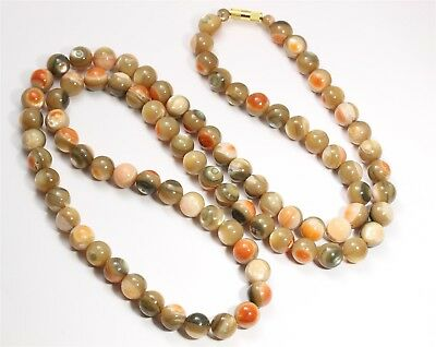 """Southwestern LONG 10mm Round Iridescent Mother of Pearl Bead Necklace 83g 31"""""""