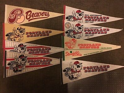PORTLAND BEAVERS Pacific Coast League RARE Full-Size Pennant Lot of 8 MUST SEE!
