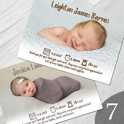 New Baby Thank You Cards, Personalised, Birth Announcement, Girl or Boy (NB7)