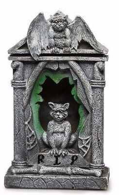 Poly Resin Gargoyle Tombstone With Blinking Multicolored LED Light NWT Halloween